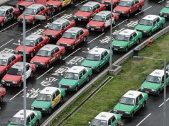 taxis rouges et vers