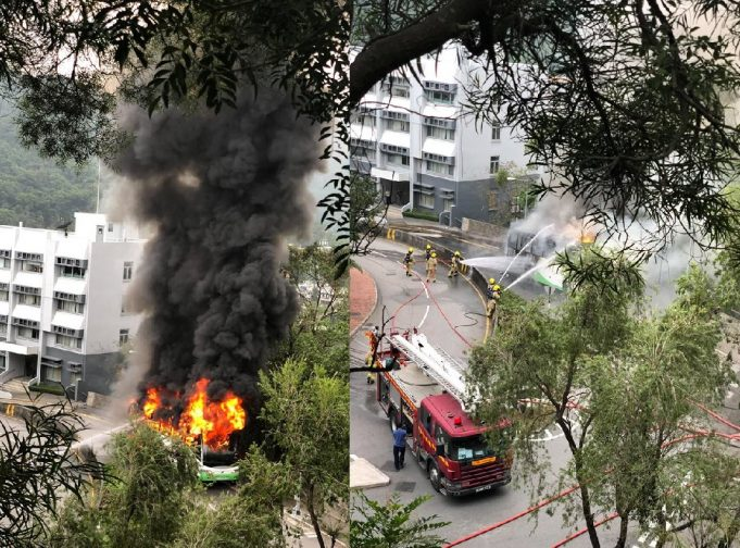 bus en flammes campus Chinese University
