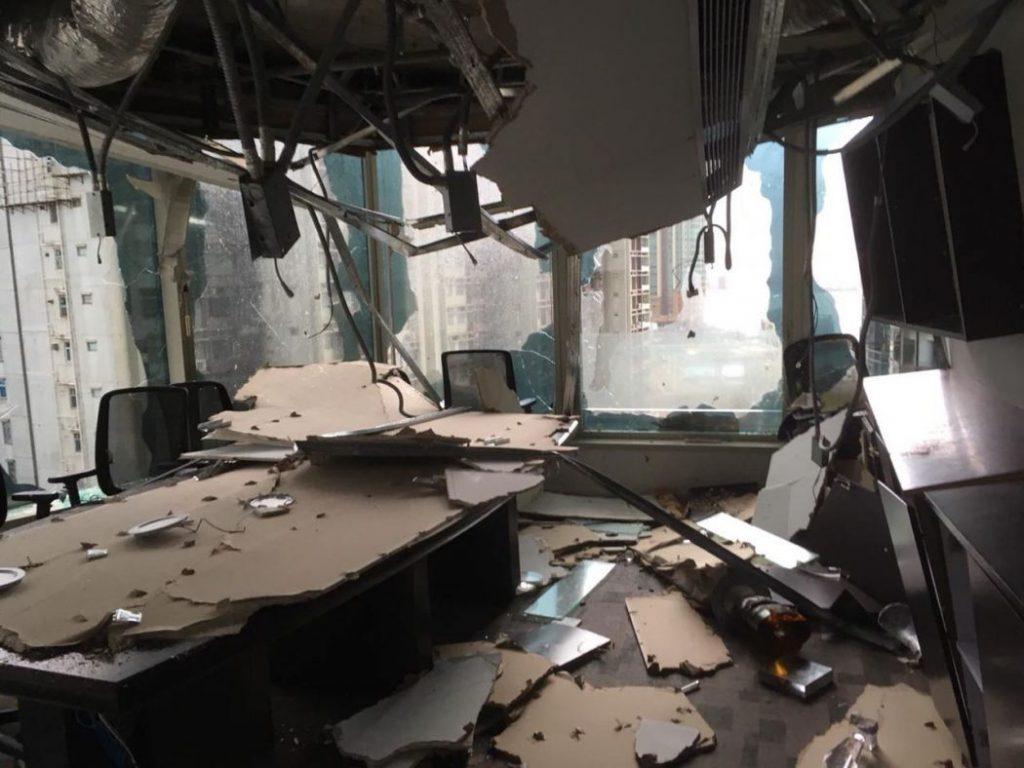 Un bureau détruit à Hung Hom