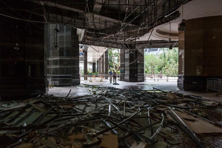 Un immeuble détruit par le typhon