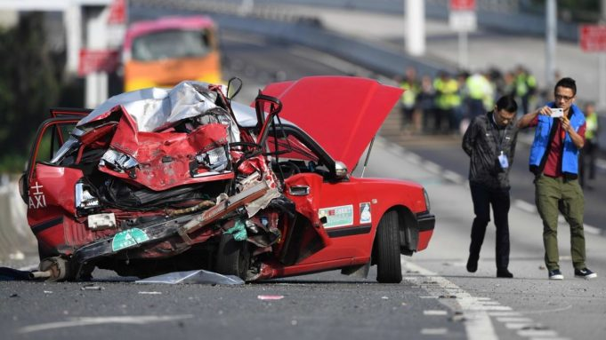 Accident taxi hong kong Tsing yi