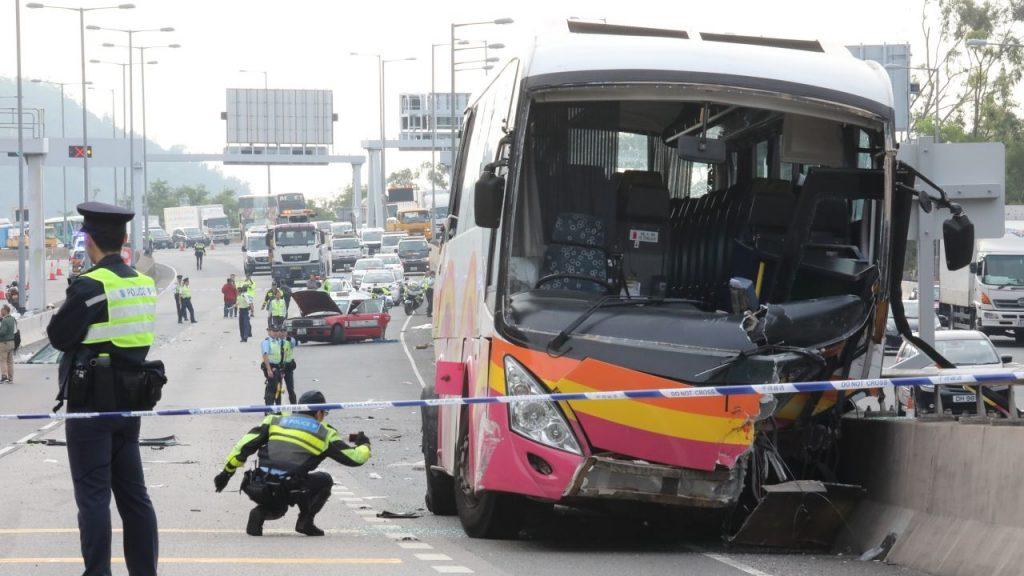 collision bus taxi Hong Kong