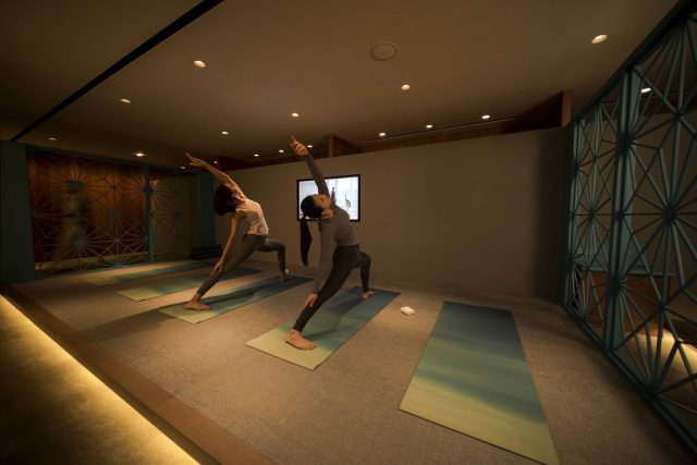 Cathay Pacific The Pier business class lounge Yoga