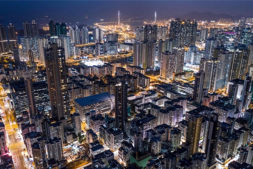 Kowloon ouest de nuit