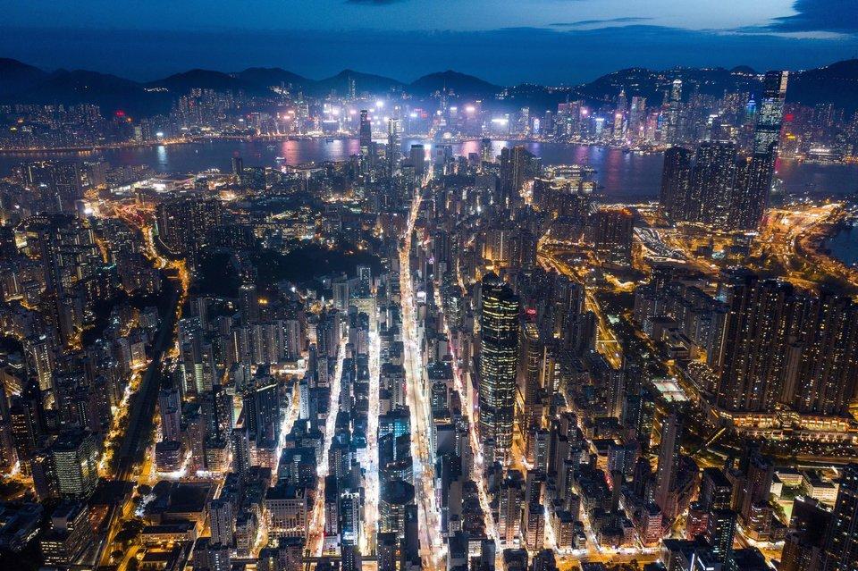Vue aérienne de Kowloon novembre 2018.
