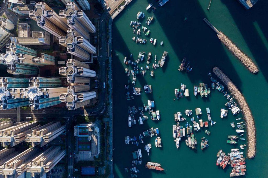 marina vue de haut Hong Kong