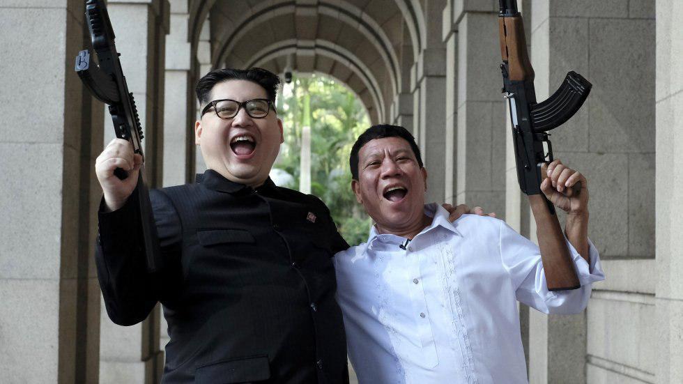 Duterte et Kim Jong Un armes